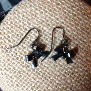 Tiny gunmetal bow hook earrings handmade OOAK